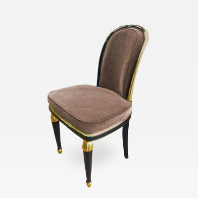 Paul Follot Paul Follot 1925 Superb Black and Gold Leaf Lady Chair Newly Reupholstered