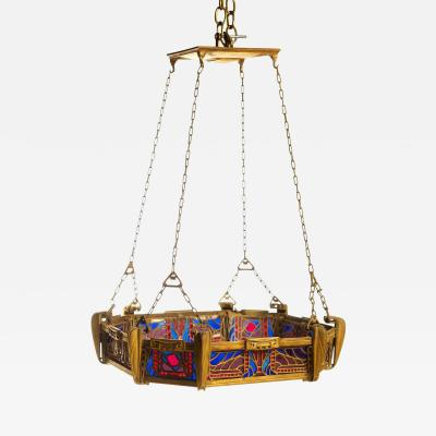 Paul Follot Paul Follot Bronze and Leaded Glass Ceiling Fixture