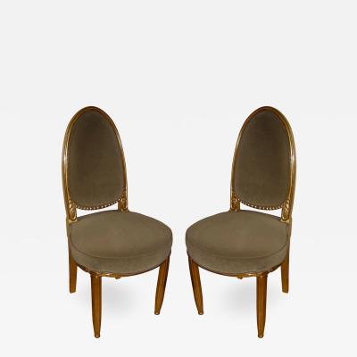 Paul Follot Paul Follot Carved Wood Gilded Pair of Chairs