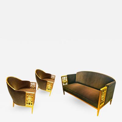 Paul Follot Paul Follot Exceptionnal Three Piece Set in Gold Leaf Carved Wood