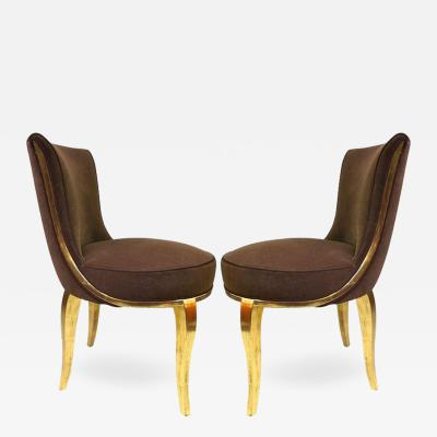 Paul Follot Paul Follot Exquisite Pair of Boudoir Chairs Newly Gilded and Recovered