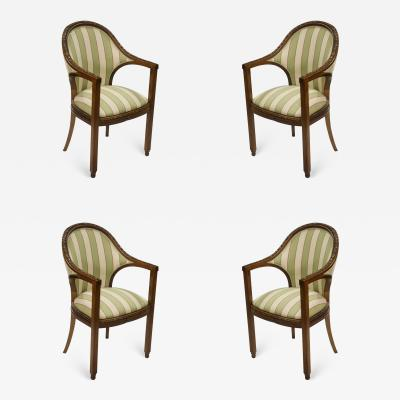 Paul Follot Paul Follot Four Sculpted Rosewood Armchairs