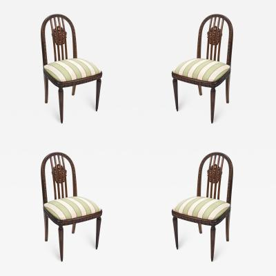 Paul Follot Paul Follot Four Sculpted Rosewood Side Chairs