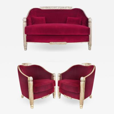 Paul Follot Paul Follot French Art Deco Settee and Berg res Set