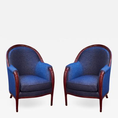 Paul Follot Paul Follot Pair of Club Chairs
