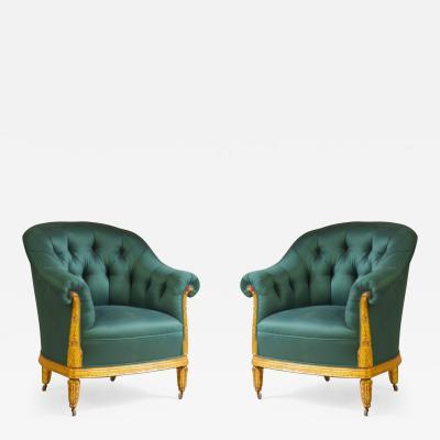 Paul Follot Paul Follot Pair of Gilt Sculpted Club Chairs