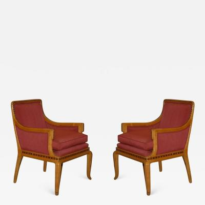Paul Follot Paul Follot Pair of Inlaid Armchairs