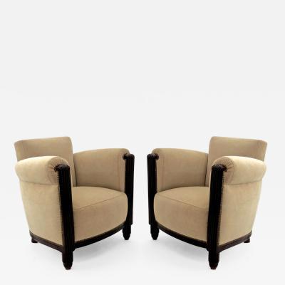 Paul Follot Paul Follot pair of comfy club chair newly covered in mohair