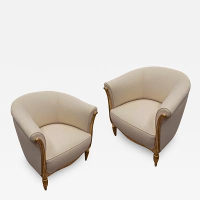 Paul Follot Paul Follot pair of gold leaf carved art deco chairs covered in raw silk