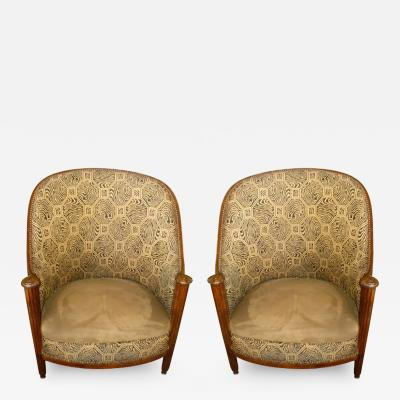 Paul Follot Unusual Original Pair of French Salon Chairs in the Style of Paul Follot