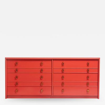 Paul Frankl 1950s Paul Frankl Moroccan Red Lacquered Double Dresser Chest of Drawers
