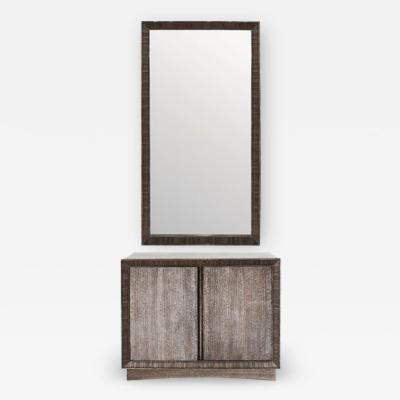 Paul Frankl Cabinet Mirror Set by Paul Frankl in Limed Oak circa 1950s