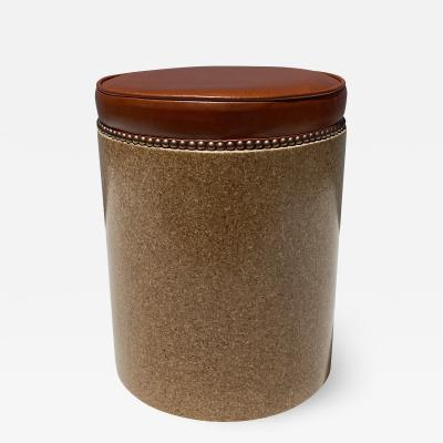 Paul Frankl Cork Side Table or Stool in Cognac Leather
