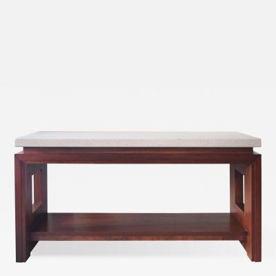 Paul Frankl Cork Top and Mahogany Base Console
