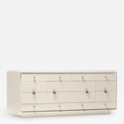 Paul Frankl Early Paul Frankl X Brass Pull Dresser for Johnson Furniture in White Chocolate