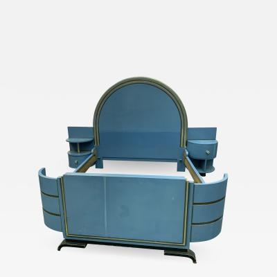 Paul Frankl HIGH STYLE MODERNIST ART DECO BED WITH UNIQUE ASYMMETRICAL NIGHT STANDS