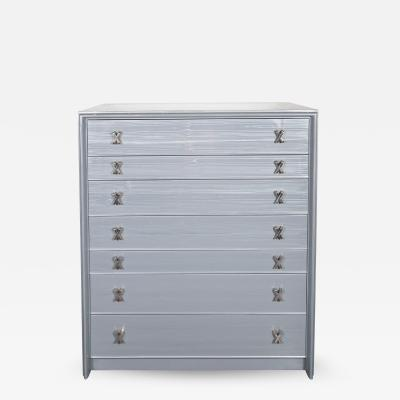 Paul Frankl High Chest in Silver Cerused Oak with Nickel X Fittings by Paul Frankl