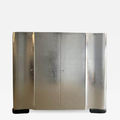 Paul Frankl MONUMENTAL FLUTED ART DECO SILVER LEAF ARMOIRE