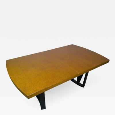 Paul Frankl Mid Century Modern Paul Frankl Cork Top Carved Mahogany Wood Base Dining Table