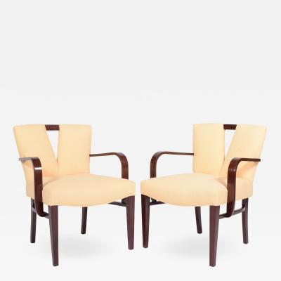 Paul Frankl Pair Arm Chairs by Paul Frankl for Johnson Furniture