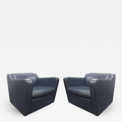 Paul Frankl Pair Leather Speed Lounge Chairs in the Manner of Paul Frankl