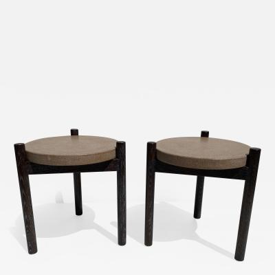 Paul Frankl Pair of Cerused Oak and Cork Side Tables