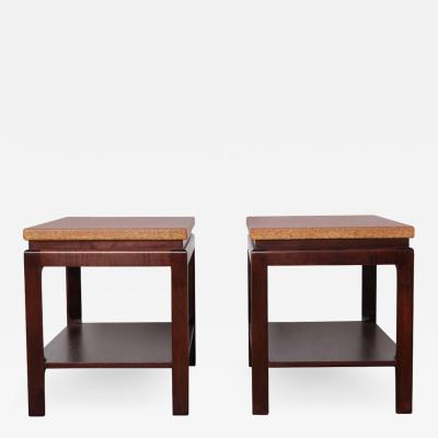 Paul Frankl Pair of Cork Top End Tables by Paul Frankl