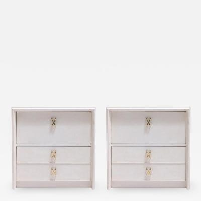 Paul Frankl Pair of Paul Frankl Ivory Lacquered Nightstands with Brass X Pulls circa 1950