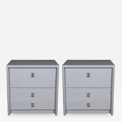Paul Frankl Pair of Silver Cerused Nightstands End Tables Nickel X Fittings by Paul Frankl
