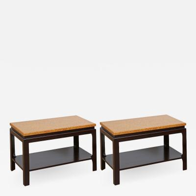 Paul Frankl Pair of Two Tier Cork Top End Tables by Paul Frankl