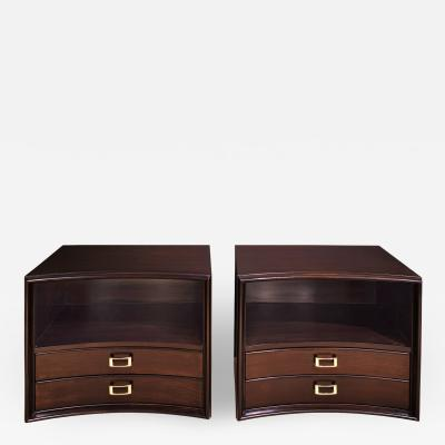 Paul Frankl Paul Frankl Bedside Tables in Dark Walnut with Buckle Pulls 1950s