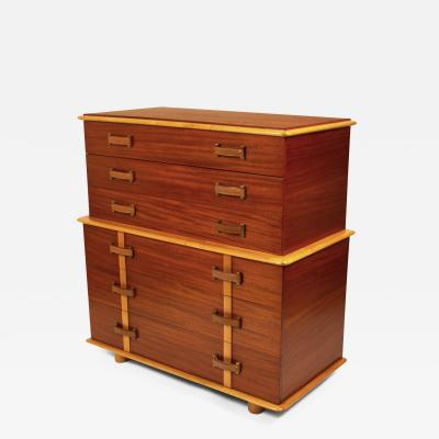 Paul Frankl Paul Frankl Chest of Drawers Station Wagon Series in Mahogany Maple Leather