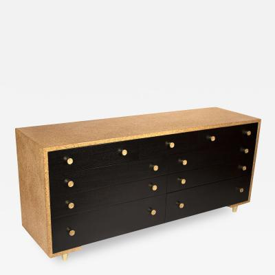Paul Frankl Paul Frankl Cork Dresser with 9 Drawers with Solid Brass Pulls Johnson Furniture