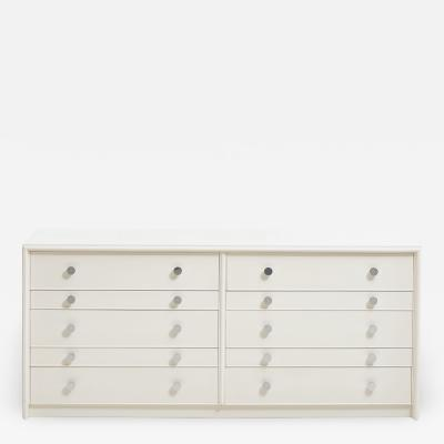 Paul Frankl Paul Frankl Dresser White Lacquer with Chrome Pulls 1950