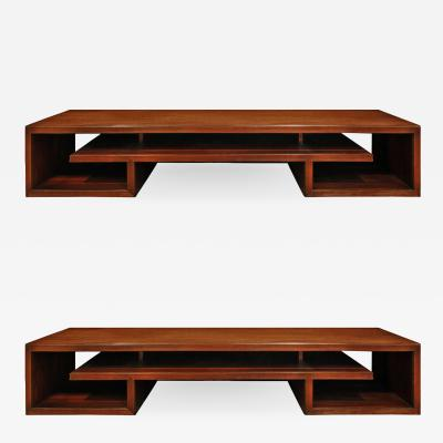 Paul Frankl Paul Frankl Pair Of Matched Low Coffee Tables In Brazilian Rosewood 1940s
