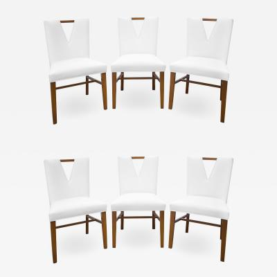 Paul Frankl Paul Frankl Set of 6 Plunging Neckline Dining Chairs 1950s