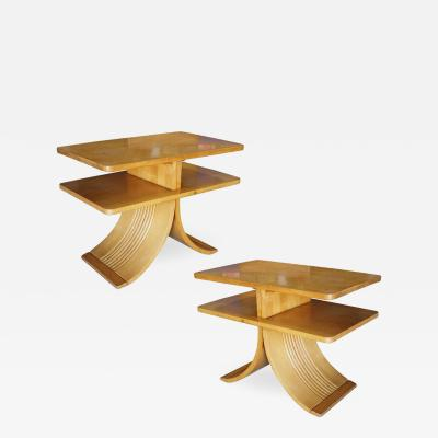 Paul Frankl Paul Frankl Two Tier Bell Side Table for Brown Saltman Pair