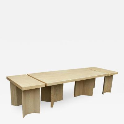 Paul Frankl Paul Frankl Waxed Cork and Oak Dining Table with Two Model 5008 Consoles