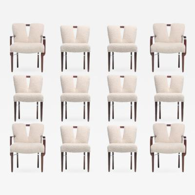 Paul Frankl Set of 18 Paul Frankl Corset Back Dining Chairs in Ivory Boucl circa 1950