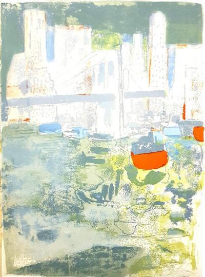 Paul Guimard Paul Guimard New Yorks Port Original Lithograph 1964