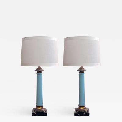 Paul Hanson An elegant pair of Paul Hanson columnar form pale blue glass lamps
