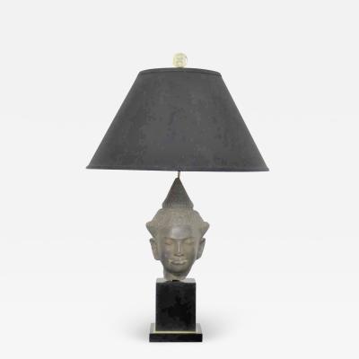 Paul Hanson Hollywood regency vintage buddha head table lamp by paul hanson