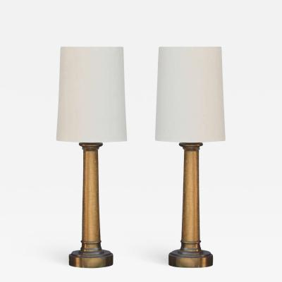 Paul Hanson Pair of Chic Crackled Glass Column Lamps by Paul Hanson