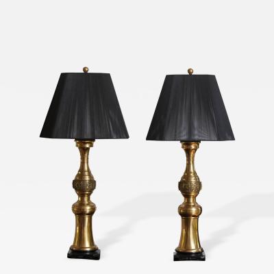 Paul Hanson Pair of Elegant Paul Hanson Brass Table Lamps