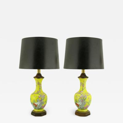 Paul Hanson Pair of Paul Hanson Yellow Ceramic Table Lamps with Hand Painted Cherry Blossoms
