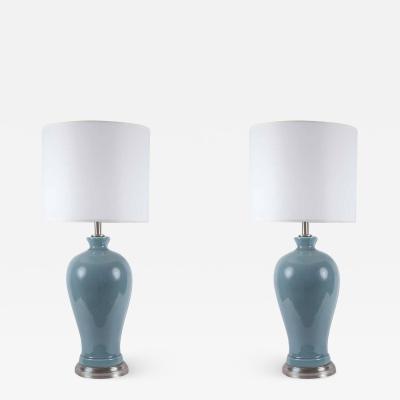 Paul Hanson Paul Hanson Blue Grey Porcelain Lamps