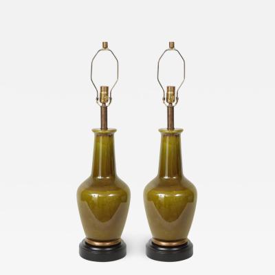 Paul Hanson Paul Hanson Moss Green Porcelain Lamps