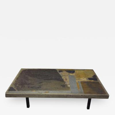 Paul Kingma A Rectangular Modernist Cocktail Table in Inlayed Stone by Paul Kingma