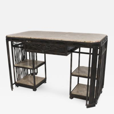 Paul Kiss French Art Deco Wrought Iron and Marble Partners Desk by Paul Kiss circa 1920s
