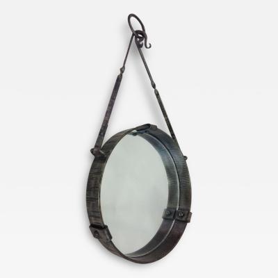 Paul Kiss French Mid Century Modern Round Wrought Iron Mirror Attr Paul Kiss circa 1930